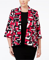 Kasper Plus Size Makali Printed Open-Front Jacket