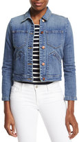 J Brand Lacy Boot-Sleeve Denim Jacket, Blue