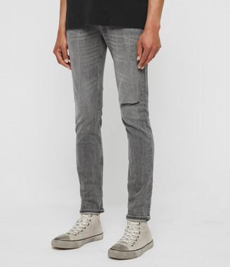 AllSaints Cigarette Damaged Skinny Jeans, Grey