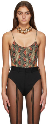 Y/Project Red and Grey Snake High Cut Bodysuit
