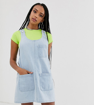 Reclaimed Vintage inspired denim mini pini dress-Blue