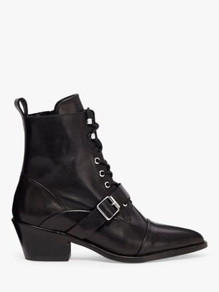 AllSaints Katy Leather Pointed Ankle Boots, Black