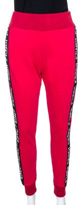 Fendi Pink Cotton Side Logo Band Detail Track Pants M
