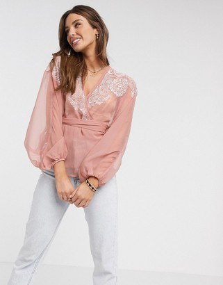 ASOS DESIGN wrap top with embroidered sleeve detail in multi