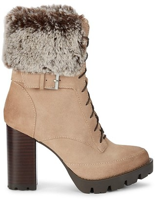 Charles David Gutsy Faux Fur-Trim & Suede Heeled Booties