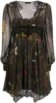 Ermanno Ermanno lace panel floral print dress