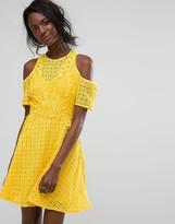 Boohoo Cold Shoulder High Neck Lace Dress