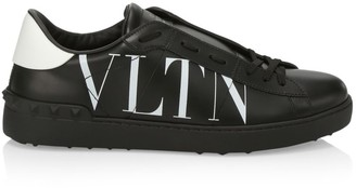 Valentino Logo Two-Tone Leather Low-Top Sneakers