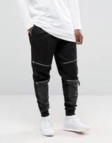 Asos Tapered Joggers With Zip Knee Detail