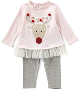 Mud Pie Baby Girls 3-18 Months Christmas Reindeer Tunic & Printed Leggings Set