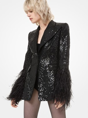 Michael Kors Sequined Double Crepe-Sable Feather-Cuff Blazer