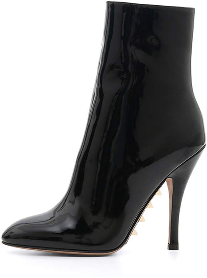 Valentino Patent Booties with Studded Sole
