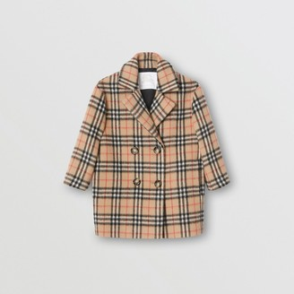 Burberry Childrens Vintage Check Alpaca Wool Blend Pea Coat