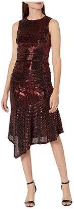 Donna Morgan Metallic Stretch Knit Sleeveless Pull Ruched Side and Ruffle Skirt Dress (Red/Black) Women's Clothing