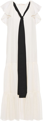 Tory Burch Tie-neck Ruffled Silk-jacquard Midi Dress