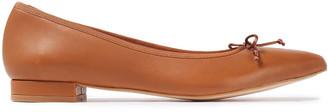 French Sole Penelope Bow-embellished Leather Point-toe Flats