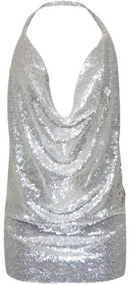 Tidecc Women Sequin Dress Sexy Halter V Neck Sleeveless Open Back Mini Dress Night Club Party Dress (Tag L/UK 10