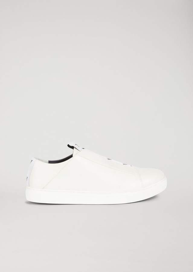 Emporio Armani Slip-On Sneakers In Nappa Leather With Contrasting Logo