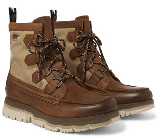 Sorel Atlis Caribou Waterproof Leather and Canvas Boots - Men - Brown