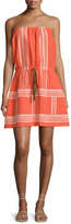 Letarte Strapless Embroidered Sun Dress, Orange