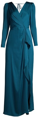 BCBGMAXAZRIA Satin Wrap-Effect Gown