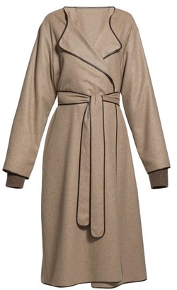 The Row Helga Belted Leather-trim Felt Coat - Womens - Light Brown