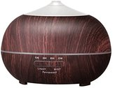 Tenswall 400ml Ultrasonic Aromatherapy Essential Oil Diffuser, Cool Mist Humidifier - Whisper Quiet Operation - Black Wood Grain Color-Changing LED Light & Auto Shut-Off Function - 4 Timer Settings