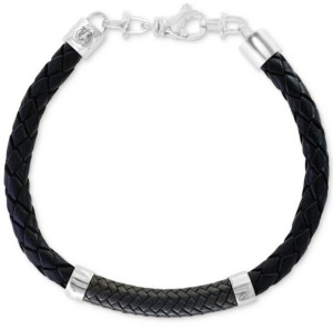 Effy Men's Leather Bracelet in Sterling Silver
