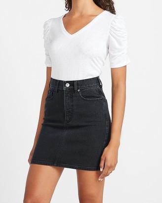 Express High Waisted Black Denim Mini Skirt