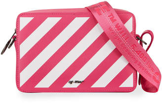 Off-White Off White Diagonal Striped Leather Zip Pouch Bag