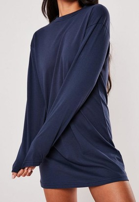 Missguided Navy Basic Long Sleeve T Shirt Dress