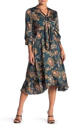 Julia Jordan Paisley Tie Neck High/Low Dress