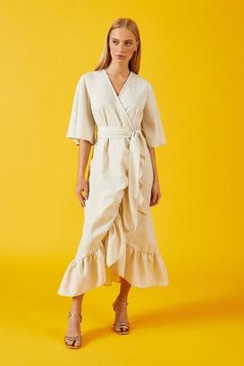 Coast Linen Wrap Midi Dress