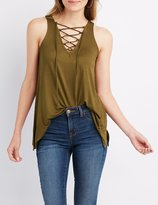 Charlotte Russe Lace-Up Sharkbite Tank Top