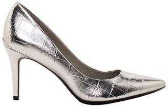 Calvin Klein Gayle Silver Croc Heeled Shoes
