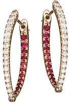 Melissa Kaye Women's Cristina 18K Rose Gold, Diamond & Ruby Medium Hoop Earrings