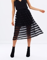 Miss Selfridge Pleated Net Midi Skirt