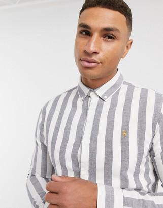 Farah Milton striped shirt in navy and white