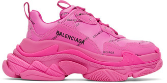 Balenciaga Pink Allover Logo Triple S Sneakers