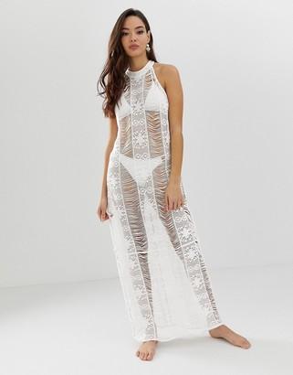 Asos Design DESIGN ladder lace bodycon maxi beach dress-White
