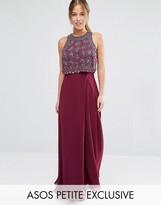 Asos All Over Embellished Crop Top Maxi Dress