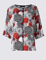 M&S Collection Floral Print Kimono 3/4 Sleeve Shell Top