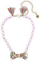 Betsey Johnson Tasseled Stone Bow Frontal Necklace