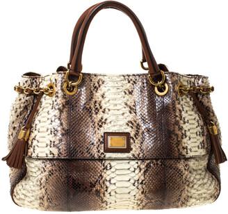 Dolce & Gabbana Brown Python and Leather Hobo