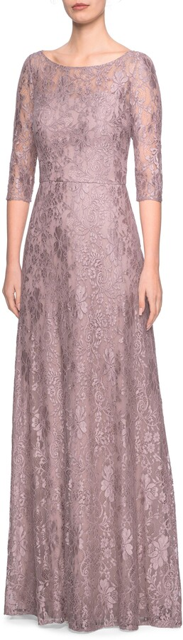 La Femme Lace Evening Dress