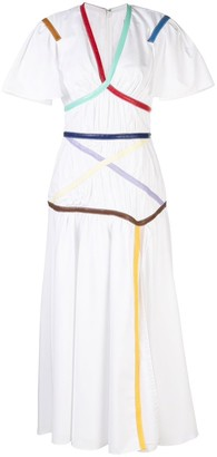 Rosie Assoulin Criss Cross Rainbow Trim Dress