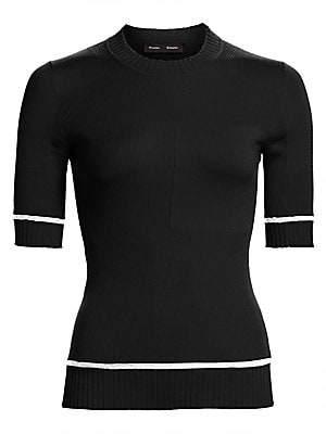 Proenza Schouler Women's Short Sleeve Silk & Cashmere Blend Knit Sweater
