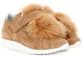 Pierre Hardy Fox Runner Fur-trimmed Suede Sneakers