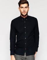 Mens Black Button Down Collar Shirt | Is Shirt