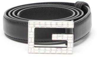 Gucci G-logo Crystal-embellished Leather Belt - Womens - Black